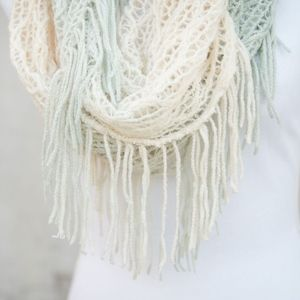 Accessories - Turquoise & Cream Ombre Infinity Scarf With Fringe